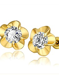 cheap -Women's Lovely Flower Crystal Stud Earrings / With Gift Box - Fashion Gold / Silver / Rose Gold Earrings For Wedding / Daily