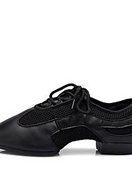 "cheap -Women's Jazz Nappa Leather Split Sole Heel Professional Flat Heel Black Under 1"" Customizable"