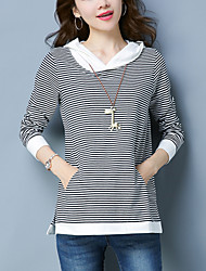 cheap -Women's Sports / Going out Simple Plus Size Cotton Loose T-shirt - Striped / Color Block / Spring