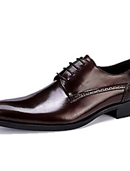 cheap -Men's Shoes Leather Spring / Fall Formal Shoes Oxfords Black / Burgundy / Party & Evening / Dress Shoes