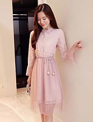 cheap -Women's Cute Casual A Line Dress - Solid Color, Lace Mesh High Waist Shirt Collar