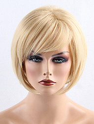 cheap -Synthetic Wig Straight Bob Haircut With Bangs Side Part Blonde Women's Capless Natural Wigs Short Synthetic Hair
