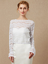cheap -Long Sleeve Lace Wedding / Party / Evening Women's Wrap With Lace / Button Coats / Jackets