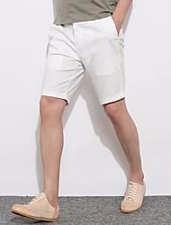 Homens Tamanhos Grandes Simples Activo Cintura Média Micro-Elástica Solto Chinos Calças, Poliéster/Algodão Verão Sólido