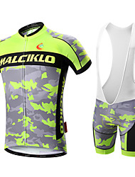 cheap -Malciklo Men's Short Sleeves Cycling Jersey with Bib Shorts - White Black British Bike Clothing Suits, 3D Pad, Quick Dry, Breathable,