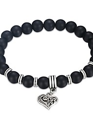 cheap -Men's Women's Volcanic Stone 1pc Chain Bracelet - Fashion Circle Black Bracelet For Gift Daily