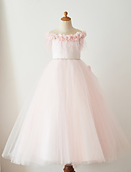 cheap -Ball Gown Floor Length Flower Girl Dress - Satin Tulle Sleeveless Jewel Neck with Feathers / Fur Belt by Thstylee