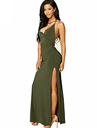 cheap -Women's Vintage Swing Dress - Solid Color, Cut Out Maxi V Neck