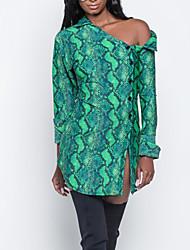 Недорогие -Жен. Большие размеры Богемный Тонкие Рубашка Платье - Геометрический принт, С разрезами Рубашечный воротник Мини