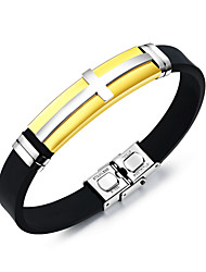 cheap -Men's Bangles ID Bracelet , Fashion Cool Stainless Steel Cross Jewelry Daily Going out Costume Jewelry