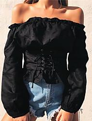 baratos -Mulheres Camiseta Sólido Decote Canoa