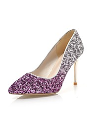 cheap -Women's Shoes Glitter Spring Fall Comfort Heels Stiletto Heel Pointed Toe for Wedding Party & Evening White Black Silver Purple Wine