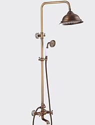 Недорогие -Античный Традиционный Душевая система Водопад Широко распространенный Ручная лейка входит в комплект Керамический клапан Два отверстия
