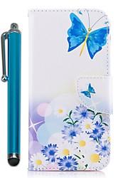 abordables -Funda Para Samsung Galaxy A8 2018 A5(2017) Soporte de Coche Cartera con Soporte Flip Magnética Funda de Cuerpo Entero Mariposa Dura Cuero