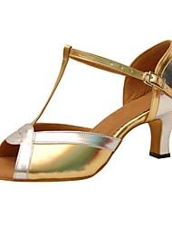 abordables -Femme Chaussures Latines Similicuir Sandale / Talon Professionnel Talon Personnalisé Personnalisables Chaussures de danse Or