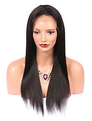 Недорогие -Не подвергавшиеся окрашиванию Лента спереди Парик Бразильские волосы С пушком 130% плотность Природные волосы Длинные Жен. Парики из