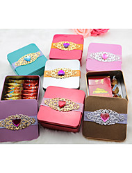 cheap -Square Shape Iron(nickel plated) Favor Holder with Rhinestone Scattered Crystals Style Sash / Ribbon Sweetheart Bandage Favor Boxes - 1pc