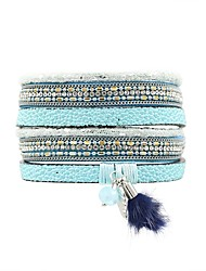 cheap -Women's Wrap Bracelet - Leather, Fur Bohemian, Boho Bracelet Blue / Pink For Causal Holiday