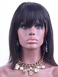 cheap -Human Hair Lace Wig Straight Lace Front Glueless Lace Front 100% Hand Tied African American Wig Natural Hairline 130% Density Natural
