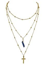 Недорогие -Жен. Крест Имитация турмалина Слоистые ожерелья  -  Классический Мода Лиловый Синий Светло-Зеленый Ожерелье Назначение Повседневные Новый