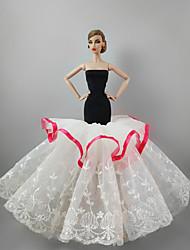 baratos -Vestidos Vestir Para Boneca Barbie Branco Linho/Algodão Renda Vestido Para Menina de Boneca de Brinquedo