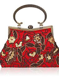 Недорогие -Жен. Мешки Полиэстер Вечерняя сумочка Бусины / Вышивка Красный / Темно-красный / Миндальный