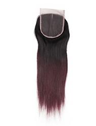 baratos -Alimice pre colorido fechamento de cabelo humano com cabelo de bebê 4 * 4 remy cabelo liso brasileiro meio / livre / fecho de renda de