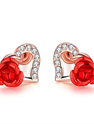 cheap -Women's Lovely Flower / Heart Crystal Stud Earrings / With Gift Box - Fashion Rose Gold Earrings For Wedding / Daily