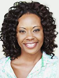 abordables -Pelucas sintéticas Rizado / Afro Pelo sintético Negro Peluca Mujer Corta Sin Tapa