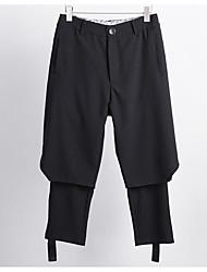 Homens Normal Simples Cintura Alta Micro-Elástica Harém Calças, Algodão Outono Sólido