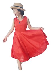 cheap -Girl's Going out Holiday Solid Dress, Cotton Polyester Summer Sleeveless Active Boho Red Yellow
