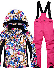 cheap -Kid's Ski Jacket with Pants Warm Waterproof Windproof Wearable Breathability Ski / Snowboard Cotton Eco-friendly Polyester