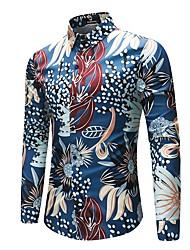 billige -Klassisk krave Herre - Blomstret Hør Vintage / Kineseri Plusstørrelser Skjorte / Langærmet