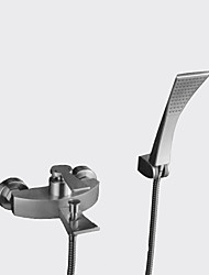 cheap -Contemporary Wall Mounted Rain Shower Waterfall Handshower Included Ceramic Valve Chrome, Bathtub Faucet