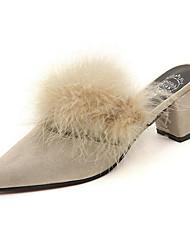 Недорогие -Жен. Обувь Замша Лето Гладиаторы Башмаки и босоножки На толстом каблуке Пух для Повседневные Черный Бежевый