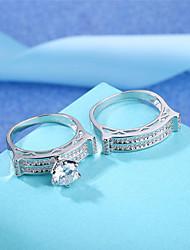 preiswerte -Damen Bandring Kubikzirkonia Strass 2pcs Silber Kreisform Retro Elegant Hochzeit Verlobung Zeremonie Modeschmuck