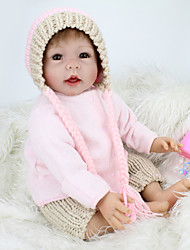 billige -NPK DOLL Reborn-dukker Baby 22 inch Silikone / Vinyl - livagtige, Hånd Anvendte Øjenvipper, Tippede og forseglede negle Børne Gave / CE / Naturlig hudfarve / Floppy Head