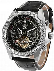 Недорогие -Jaragar Муж. Наручные часы Нарядные часы Модные часы Повседневные часы С автоподзаводом Календарь Кожа Группа На каждый день Cool Черный