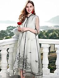 abordables -Femme Chinoiserie Ample Robe - Basique Imprimé, Fleur Mao