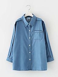 preiswerte -Mädchen Hemd Alltag Solide Polyester Frühling Langarm Retro Blau