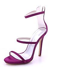 Mulheres Sapatos Cetim Primavera Verão Plataforma Básica Sandálias Salto Agulha Dedo Aberto Presilha para Casamento Festas & Noite Roxo