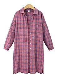 baratos -Mulheres Camisa Social-Praia Moda de Rua Houndstooth Colarinho de Camisa