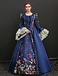abordables -Queen Victoria Renaissance Costume Femme Robes Bal Masqué Costume de Soirée Tenue Bleu Rouge Vintage Cosplay Polyester Manches 3/4 Gigot