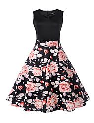 cheap -Women's A Line Dress - Floral, Print V Neck