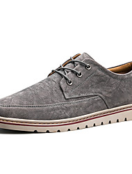 cheap -Men's Shoes PU Cowhide Leather Spring Fall Light Soles Comfort Sneakers Lace-up for Casual Office & Career Black Gray