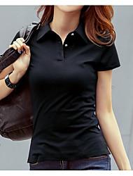 baratos -Mulheres Polo Moda de Rua Sólido Colarinho de Camisa