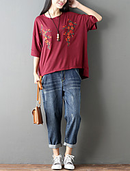 cheap -Women's Vintage T-shirt - Embroidery, Modern Style