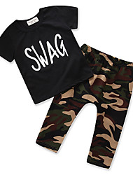 cheap -Boys' Unisex Daily Going out Print Clothing Set, Cotton Polyester Summer Short Sleeves Casual Street chic Black