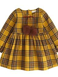 baratos -Menina de Vestido Diário Para Noite Sólido Listrado Houndstooth Quadriculada Primavera Verão Algodão Manga Longa Vintage Fofo Amarelo