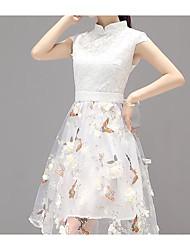 cheap -Women's Going out Cute Basic Slim A Line Dress - Solid Colored High Waist Peter Pan Collar
